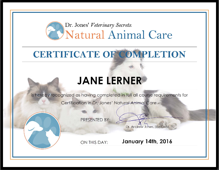 Cerificate Animal Course